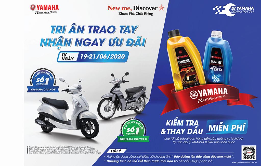 Chuỗi sự kiện kiểm tra và thay dầu miễn phí dành cho khách hàng của Yamaha diễn ra từ 19/6 đến 21/6.